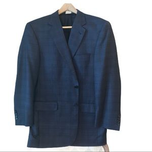 Jos A Banks Navy Window Pane Pattern Sportcoat
